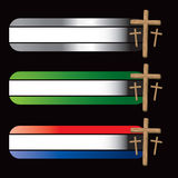 Specialized banners with three wooden crosses. Christian crosses on specialized banners Royalty Free Stock Images