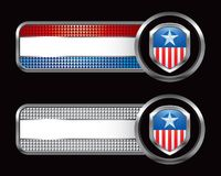 Specialized banners witha patriotic icon. Patriotic icon on striped banners Royalty Free Stock Images