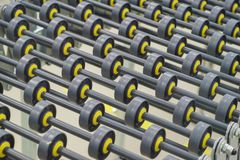 Specialized conveyor line for the production of medical products consisting of many small rollers close-up. Abstract background. Modern technologies Stock Image