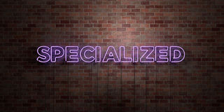 SPECIALIZED - fluorescent Neon tube Sign on brickwork - Front view - 3D rendered royalty free stock picture. Can be used for online banner ads and direct Royalty Free Stock Photography
