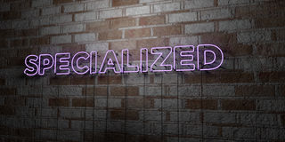 SPECIALIZED - Glowing Neon Sign on stonework wall - 3D rendered royalty free stock illustration. Can be used for online banner ads and direct mailers Royalty Free Stock Image