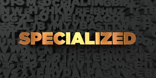 Specialized - Gold text on black background - 3D rendered royalty free stock picture. This image can be used for an online website banner ad or a print Royalty Free Stock Images