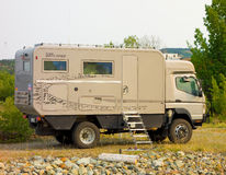 A specialized motor-home imported from germany. An rv built for rough terrain as seen at a campground in the yukon territories royalty free stock photos