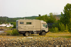 A specialized motor-home imported from germany. An rv built for rough terrain as seen at a campground in the yukon territories royalty free stock photography