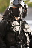 Specialized officer. An officer in full tactical gear Stock Image