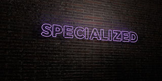 SPECIALIZED -Realistic Neon Sign on Brick Wall background - 3D rendered royalty free stock image. Can be used for online banner ads and direct mailers Royalty Free Stock Photography