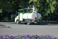 Specialized Vehicles for watering flower beds in the municipal p. Ark stock image