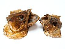 Specially crafted head fish. Dried fish heads isolated on white background Stock Photo