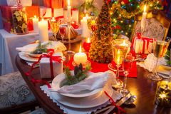 Specially decorated christmas table Royalty Free Stock Image