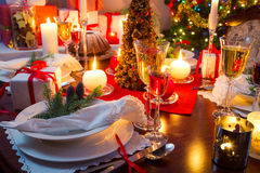 Specially decorated christmas table Stock Image