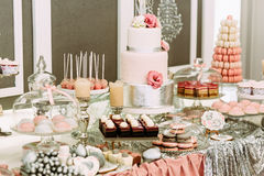 Specially decorated table with sweets for the wedding Stock Photos