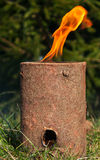 Specially prepared wooden log in the form of the Swedish torch Royalty Free Stock Image