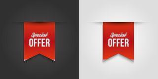 Red special offer banner with shadow on white and dark background. Can be used with any background. Vector illustration. vector illustration