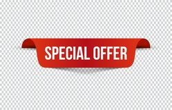 Red special offer banner with shadow on transparent background. Can be used with any background. Vector illustration. vector illustration