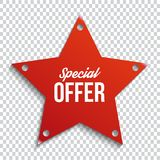 Red special offer banner with shadow on transparent background. Can be used with any background. Vector illustration. stock illustration