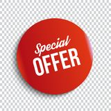 Red special offer banner with shadow on transparent background. Can be used with any background. Vector illustration. royalty free illustration