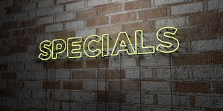 SPECIALS - Glowing Neon Sign on stonework wall - 3D rendered royalty free stock illustration. Can be used for online banner ads and direct mailers Royalty Free Stock Photography