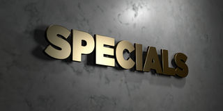 Specials - Gold sign mounted on glossy marble wall  - 3D rendered royalty free stock illustration. This image can be used for an online website banner ad or a Stock Photos