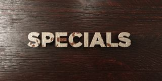 Specials - grungy wooden headline on Maple  - 3D rendered royalty free stock image. This image can be used for an online website banner ad or a print postcard Royalty Free Stock Photography