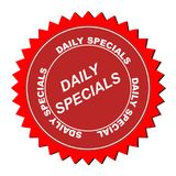 Daily specials icon. Red icon seal with white text graphics daily specials Stock Images