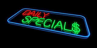 Daily Specials. Sign in Neon Lights Royalty Free Stock Photos