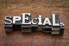 Specials word in metal type Stock Photos