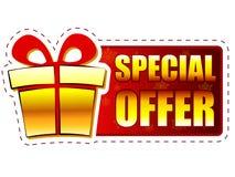 Specialt erbjudande för jul och gåvaask på rött baner med snowflak stock illustrationer