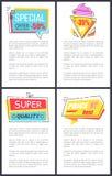Specialt erbjudande, toppen kvalitets- vektorillustration stock illustrationer