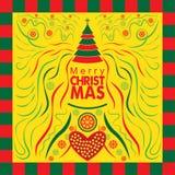 Specialt julhälsningkort med abstrakt stil Arkivbilder