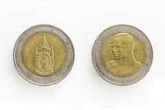 Specialt mynt för baht 10 i Thailand Royaltyfri Fotografi