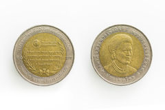Specialt mynt för baht 10 i Thailand Royaltyfri Bild