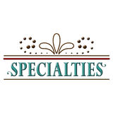 Specialties Header Word Text Design. Specialties header to be used in a menu for example. Word text design Stock Photos