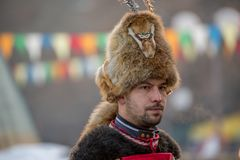 Specialtillverkad hatt för special päls som jagar den bort ondskan Arkivfoton
