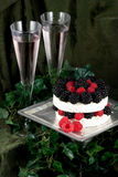Specialty cheese. Brie cake with champagne Royalty Free Stock Photography