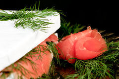 Specialty cheese. Brie cake with salmon Royalty Free Stock Images