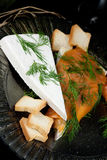 Specialty cheese with salmon Royalty Free Stock Photos