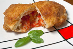 Specialty of the Puglia. Typical specialty of Puglia, the panzerotto royalty free stock photography