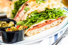 Specialty sub. Fresh specialty sub sandwich with melted mozzarella cheese in Italian restaurant stock photos