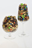 Specialty trail mix in wine glasses Royalty Free Stock Images