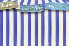 Specicalty Coffees advertised on a color circus style tent Royalty Free Stock Image