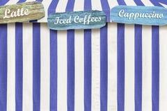 Specicalty-Kaffee annoncierten auf einem Farbzirkus-Artzelt Lizenzfreie Abbildung