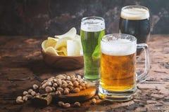 Specie differenti della birra del mestiere Fotografia Stock