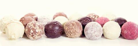 Specie differenti delle praline del cioccolato o dei tartufi, epicu di concetto Fotografia Stock Libera da Diritti