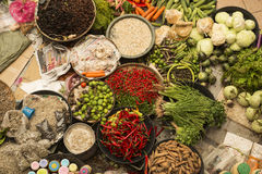 Species, fruit and vegetables in the covered vegetables market, Malaysia Stock Photos