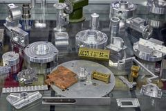 examples of spare parts at the International military-technical forum ARMY-2018 stock image