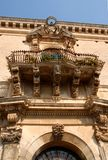 Specifically, part of the facade with balconies, an elegant building in Ragusa in Sicily (Italy) Stock Photo