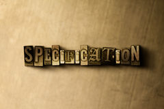 SPECIFICATION - close-up of grungy vintage typeset word on metal backdrop. Royalty free stock illustration.  Can be used for online banner ads and direct mail Stock Image