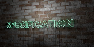 SPECIFICATION - Glowing Neon Sign on stonework wall - 3D rendered royalty free stock illustration. Can be used for online banner ads and direct mailers Stock Image