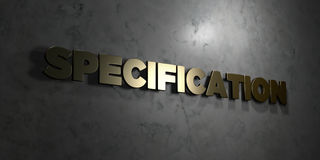 Specification - Gold text on black background - 3D rendered royalty free stock picture. This image can be used for an online website banner ad or a print Royalty Free Stock Photography
