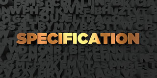 Specification - Gold text on black background - 3D rendered royalty free stock picture. This image can be used for an online website banner ad or a print Royalty Free Stock Photo
